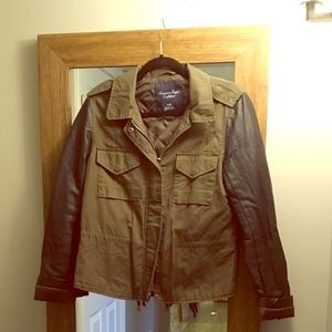 AE Green Army Jacket w/ Leather Sleeves